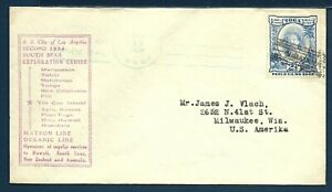 SS CITY OF LOS ANGELES Tonga Canoe Mail Paquebot Naval Cover