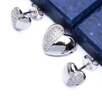 NEW PAVE  CZ SET HEART  .925 Sterling Silver Earring & Pendant Set