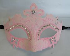 Masquerade Face Mask Pink With Diamonte Decoration & Ribbon Tie On  - NEW