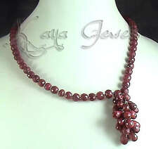 NATURAL FACETED RED RUBY PEAR BEADS NECKLACE  SHIPPING WORLDWIDE