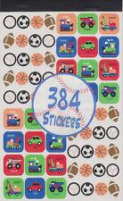 384 STICKERS Scrapbooking Boys Kids Sports Cars Trains Children School Reward