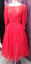 50-60s Red Nylon Party Prom VLV Dress w/ Bows & Sheer Long Slvs  sz XS