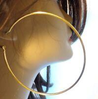 LARGE 3 INCH HOOP EARRINGS GOLD TONE SIMPLE THIN HOOP EARRINGS