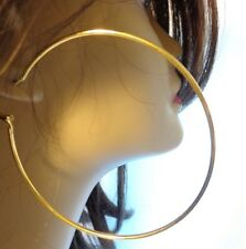 LARGE 3 INCH HOOP EARRINGS GOLD TONE SIMPLE THIN HOOP EARRINGS
