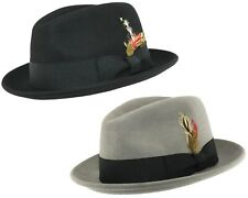 Mens or Boys C-Crown Trilby Hat 100% Wool Crushable Felt Fedora / Homburg Style