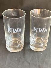 Northwest Airlines NWA Glasses Etched Logo Liquor  Vintage set of 2