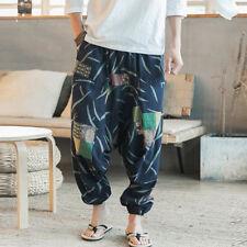 Stylish 100% Cotton Men's Summer Harem Ethnic Print Retro Baggy Pants Trousers