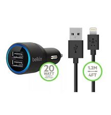 BELKIN DUAL 4.2A USB CAR CHARGER & CABLE FOR IPHONE 7 6S 6 PLUS 5S 5C 5 IPAD