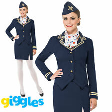 Air Hostess Stewardess Costume Womens Ladies Cabin Crew Fancy Dress Outfit + Hat
