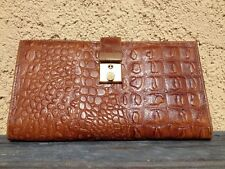 VNTG EMBOSSED CROCODILE TRAVEL ORGANIZER CHECKBOOK WALLET MULTIPLE COMPARTMENTS