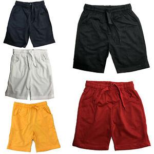 Boys Kids Shorts Plain Cotton Girls PE School Summer Gym Sports Navy Red Black