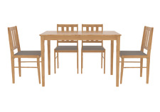 Trinity Dining Set  Table & 4 Chairs - Solid Wood Oak Finish - Grey Fabric Seats