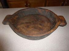 "Antique Wood Bowl Old 12"" Diameter Primitive Handles"