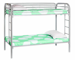 New Bold Tones Twin Over Twin Metal Bunk-bed with Double Ladder