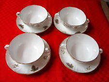 4 Royal Worcester Dorchester Cream Soup & Underplates English Bone China