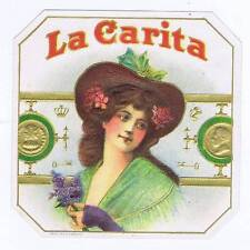 La Carita, original outer cigar box label, woman