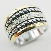 White Topaz 925 Sterling Silver Gemstone Ring Size 6 7 8 9 10 F869