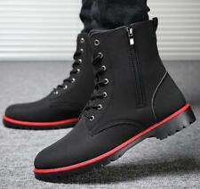 Winter Mens Sport Zipper Casual High Top Shoes Lace Up faux leather Ankle Boots