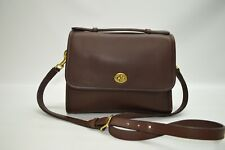 Coach Vintage USA Made Mahogany Leather Turnlock Court Bag 9870 Crossbody