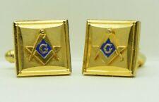 Men's Masonic Cuff Links Square Gold Vintage Freemason Collectible