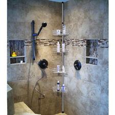 4 Tier Metal Shower Corner Pole Caddy Bathroom Wall Shelf Storage Rack Holder