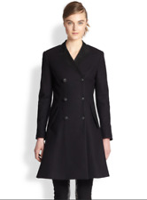 RAG & BONE CATE SUEDE-TRIMMED DOUBLE BREASTED WOOL COAT IN BLACK sz 2