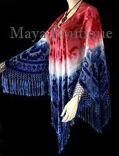 Maya Matazaro Hand Dye Poncho Shawl Top Silk Burnout Velvet USA Flag Colors