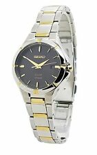 Seiko Solar SUT316 Ladies Dress Sport Two Tone Stainless Steel Black Dial Watch
