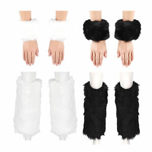 Fashion Winter Faux Fur Furry Solid Color Leg Warmers with Cuffs FOOTLESS SOCKS