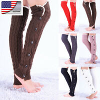Women Winter Cable Knit Leg Warmer Over Knee Long Boot Thigh-High Socks Leggings