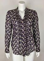 Maeve Blouse Monkey Print 4 Cotton Purple Multi Button Down Roll Tab Sleeves