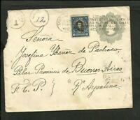 CHILE 1912 POSTAL STATIONARY + STAMP TO ARGENTINA, (PILAR) W/ TAX
