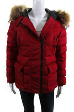 Moncler Womens Full Zip Fox Fur Trim Hooded Down Puffer Jacket Red Size 0