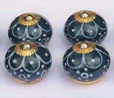 placard poignées boutons Aqua noir rond fleur blanche Peint Pétales (cuivre) x 4