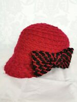 BNWT Dents Dark Red Berry Baker Boy 1920s 1930s Hat Bow on Side One Size #k