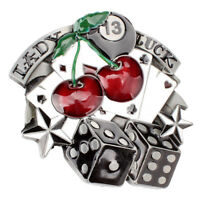 Dice Cherry Lady Luck Pattern Cowgirl Western Gamble Belt Buckle