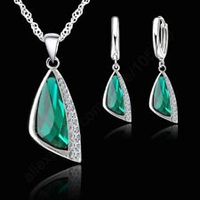 Women 925 Silver Triangle Green Crystal Necklace And Earring Jewellery Set Gift