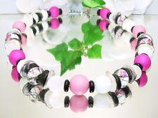 # BEZAUBERND Kette ACRYL Glas Kokos Metall Perlen weiss rosa schwarz silber 469d