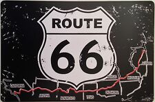 RETRO METAL WALL SIGN TIN PLAQUE VINTAGE SHABBY CHIC GARAGE ROUTE 66 USA MAP US