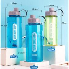 1.2L-2L Portable Large Water Drinks Bottle w/ Straw Sport Travel Hiking Gym Safe
