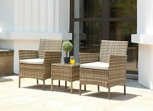 3PC Rattan Bistro Set Outdoor Garden Patio Furniture 2 Chairs,Coffee Table Brown