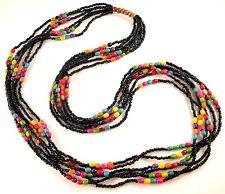 1 Black Multi Strand Mixed Colour Wood Beaded Fashion Necklace - # B177