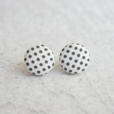 Black and White Polka Dots Fabric Button Earrings