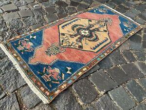 Doormats, Vintage Rug, Handmade Rug, Turkish Rug, Small Rug, Carpet 1,6 x 3,5 ft