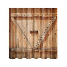 71'' Shower Curtain Bathroom Water Resistant Polyester Fabric Wood Door #1