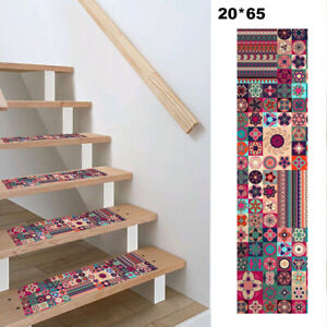 13Pcs Hall Bohemia Stair Runner Treads Rugs Mats 8x 25.6'' Non-Skid Carpets Boho