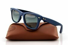 RARE Ray-Ban WAYFARER Genuine LEATHER Blue Square Sunglasses RB 2140 QM 1168/71