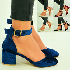 New Womens Ladies Ankle Strap Low Mid Block Heel Pumps Velvet Shoes Size Uk 3-8