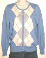 Talbots Petites Women's Pure Italian Merino Wool Blue Argyle Cardigan Size SP