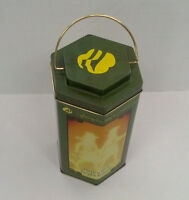 girl scout lighting the way lantern shaped collectible tin container green
